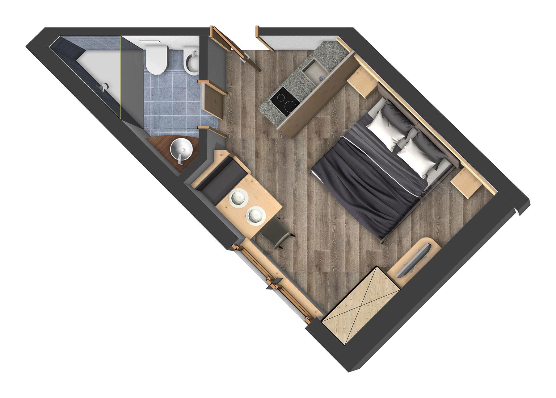 ein-zimmer apartments (studios) für 2 personen, Hause deko