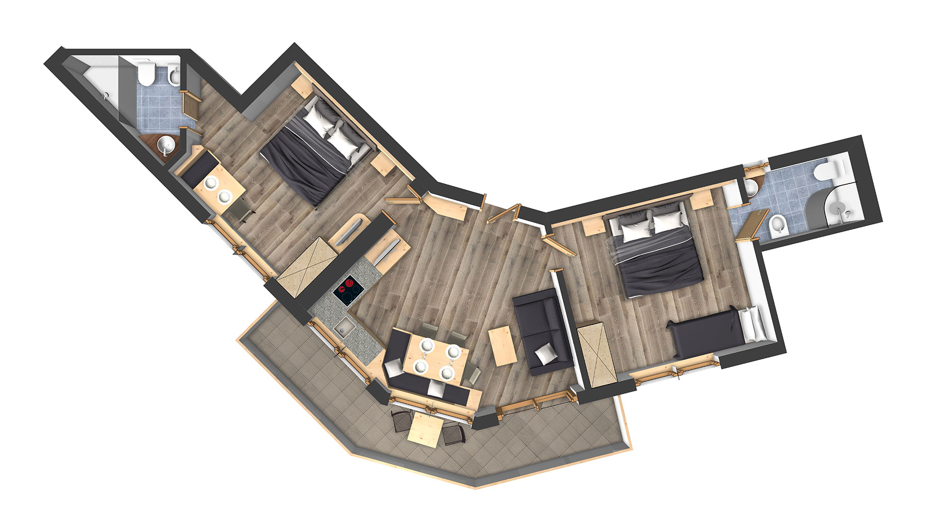 three room apartments for 3 7 persons